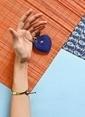 Leather & Paper Deri Kalp Anahtarlık Mavi